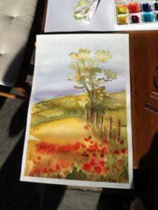 Malba krajiny akvarelem